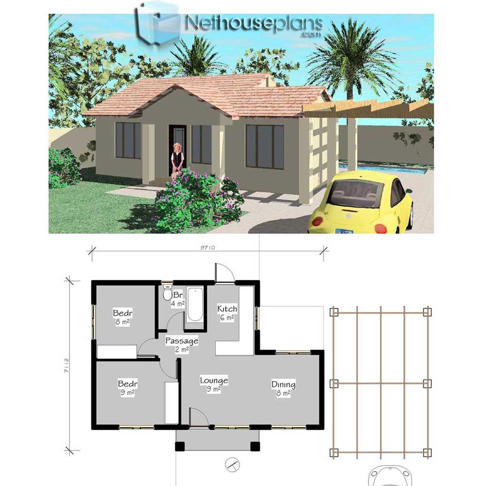 Small house plans Free house plans pdf downloads tiny house plans 1 Simple house plans Nethouseplans 55sqm - View 2 Bedroom Small House Design Floor Plan Pics