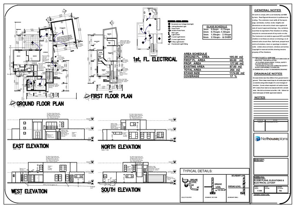 house plans flat roof, 4 bedroom modern house plans, 4 rooms house plans, Nethouseplans