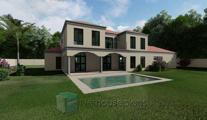 4 bedroom house plans with photos double storey house design Tuscan style South african house plans back pool side view Nethouseplans