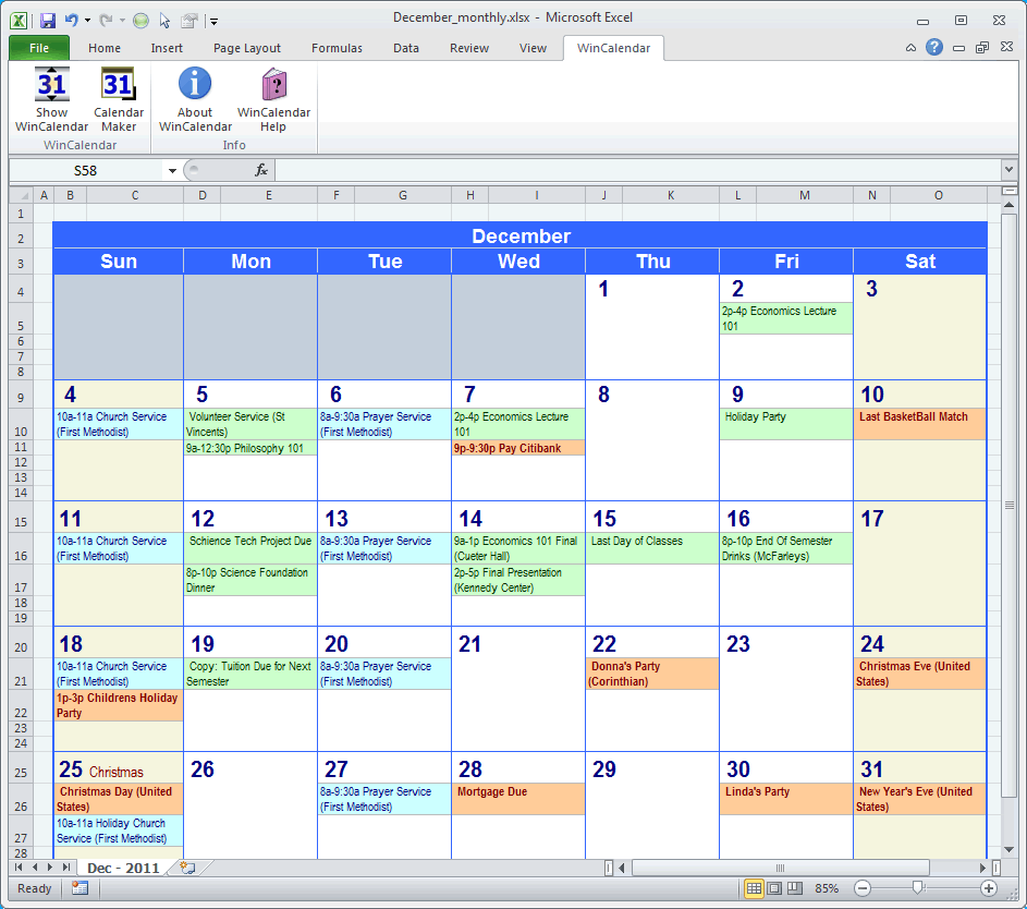 Work Monthly Schedules Printable Free