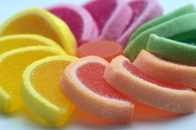 Sugar Close Up of Candy Shaped Like Fruit Slices