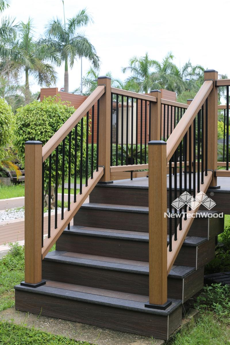Deck Railing Composite Outdoor Deck Rails Newtechwood | Outside Stair Railing Installation | 3 Step | Rail | Painted Porch | Sunroom | Door Offset