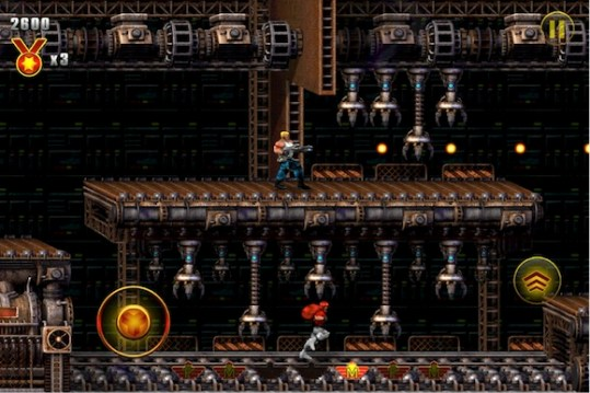 Old School Charm In New Skin     Contra  Evolution  iOS  Game Review     The game  titled Contra  Evolution  replaces the old pixelated graphics  with 21st century 2D pop  Viewing the game on a Retina iPad illicit a  single