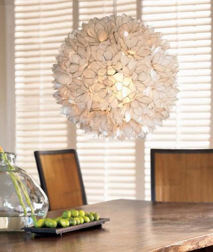 Decorative Warm White Capiz Shell Hanging Pendant Light