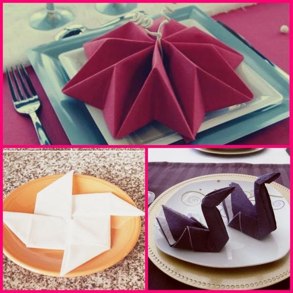 Alternativer for fôring av servietter i origami teknikk