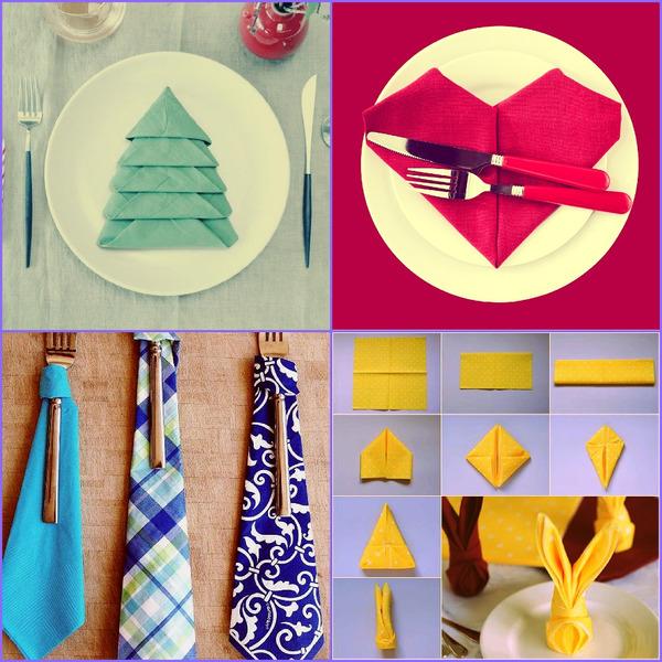 Alternativer for kreativt foldede servietter for et festlig bord
