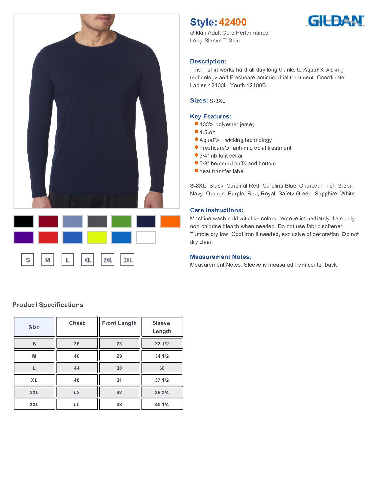 Size Chart Shirts T Performance Gildan