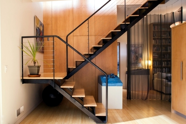 The Modern Steel Staircase Inside And Outside For Amazing Design   Steel Ladder Design For Home   Wrought Iron   House   Residential   Interior   Contemporary