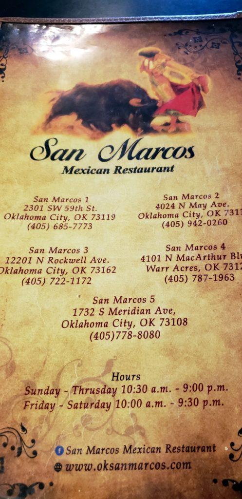 San Marcos Okc Menu