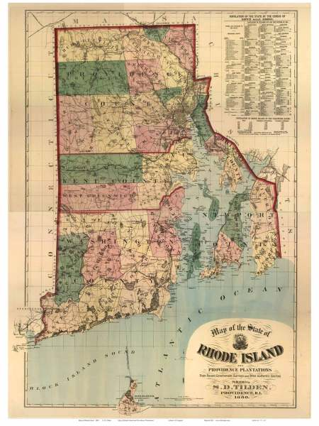 RI State Maps Map of the State of Rhode Island  1880 Tilden