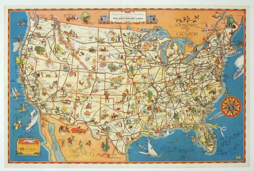 A good natured map of the United States setting forth the services     A good natured map of the United States setting forth the services of The  Greyhound