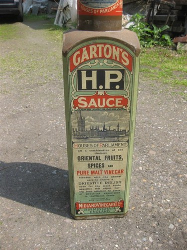 Giant Tin Gartons Hp Sauce Bottle Display Advertising