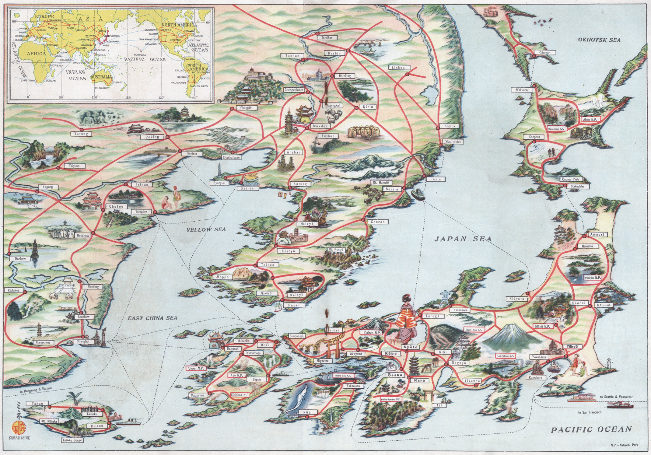 Cartography   Old Tokyo Tourist map of the Japanese Empire  c  1940  depicting the Home Islands   right   Manchukuo  Korea  East China  and Formosa before the start of the  Pacific
