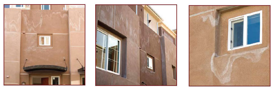 pictures of efflorescence on stucco plaster wall systems