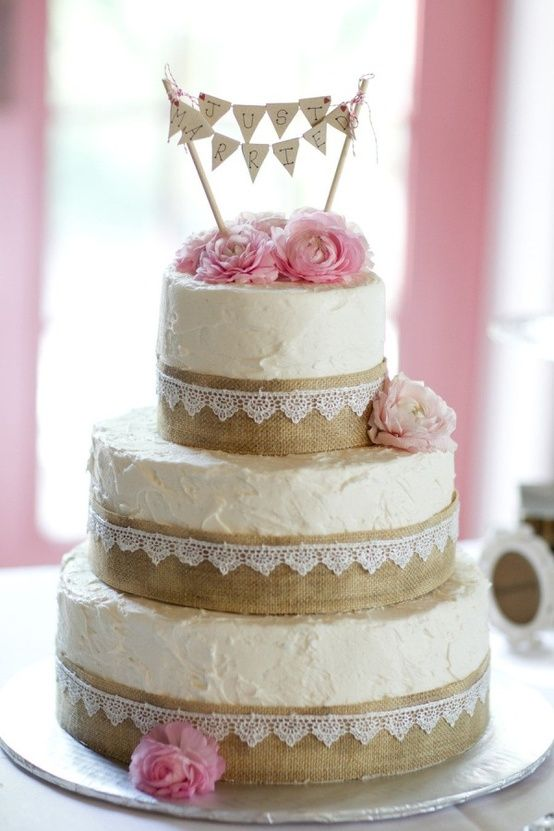 Burlap and Lace Wedding and Party Ideas   One Charming Day wedding cake burlap lace