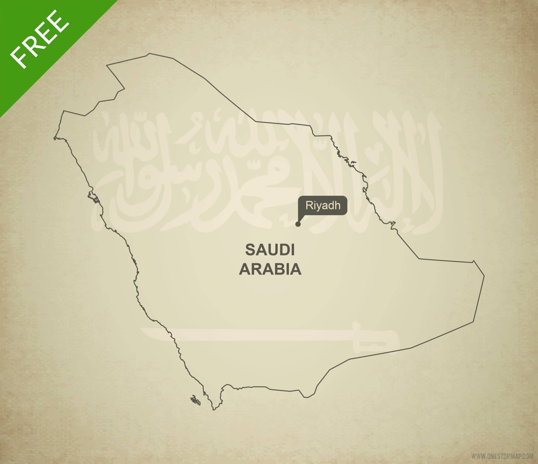 Free Vector Map of Saudi Arabia Outline   One Stop Map Free vector map of Saudi Arabia outline