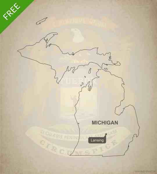 Free vector map of Michigan outline   One Stop Map Free blank outline map of the U S  state of Michigan