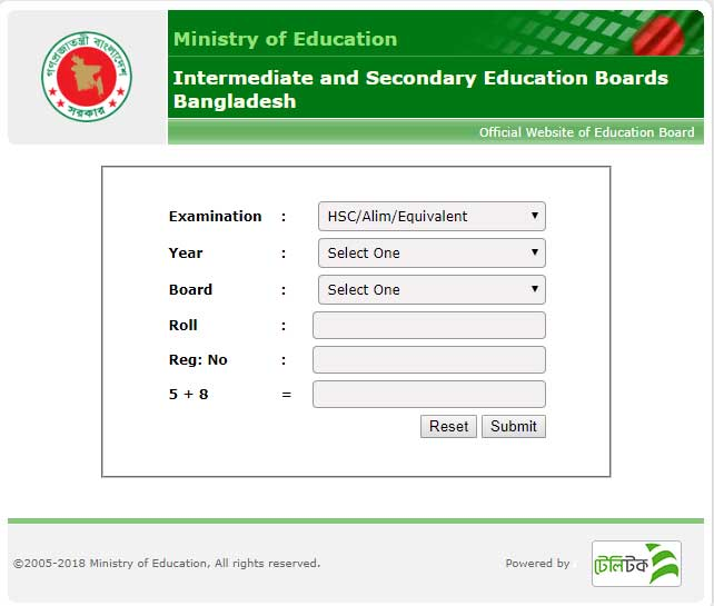 Rajshahi board JSC result cheking