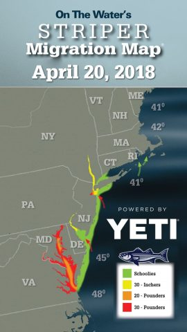 Striper Migration Map   April 20  2018   On The Water 2018 Striper Migration Map