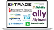 Photo showing the logos of stock and option brokers