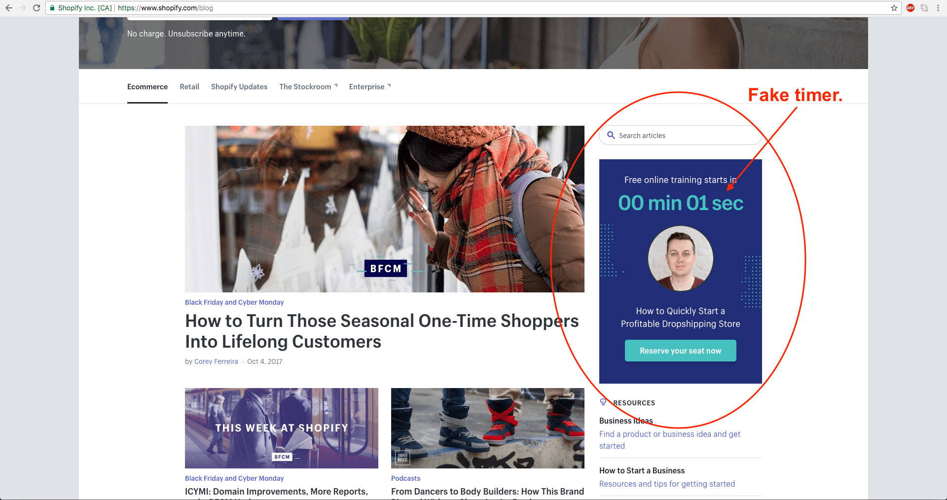 Image showing Shopify's deceptive marketing practices