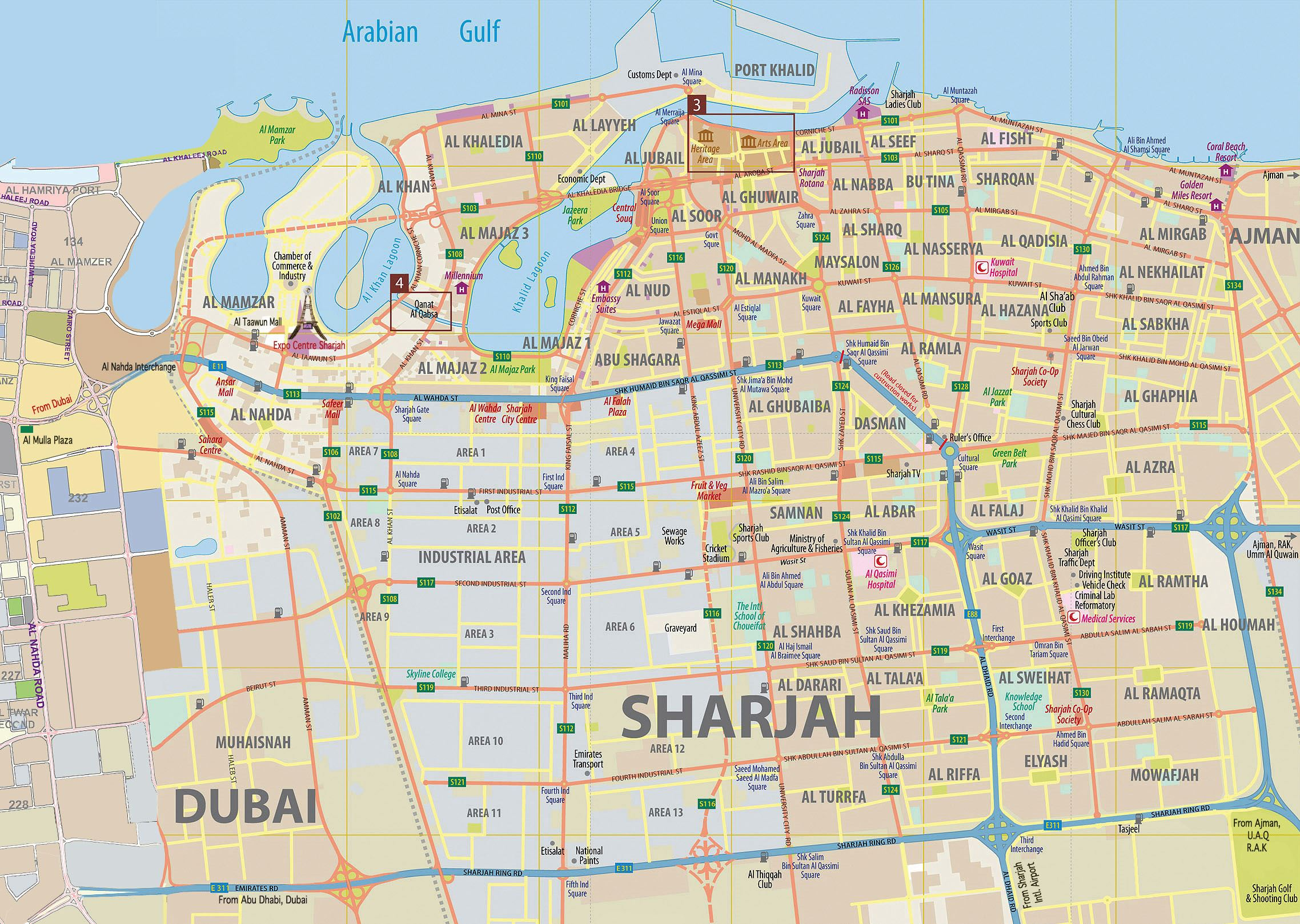Emirates Map in grey Advertisement sharjah