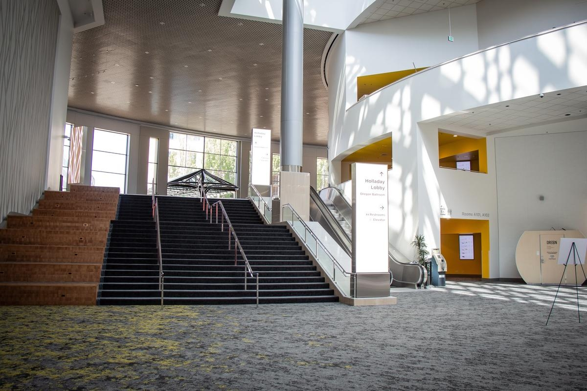 The Lobby And Sit Steps Near Exhibit Hall A Oregon Convention | Steps Design In Hall | Duplex House | Style Indian | Concept | Beautiful | Front Main Entrance