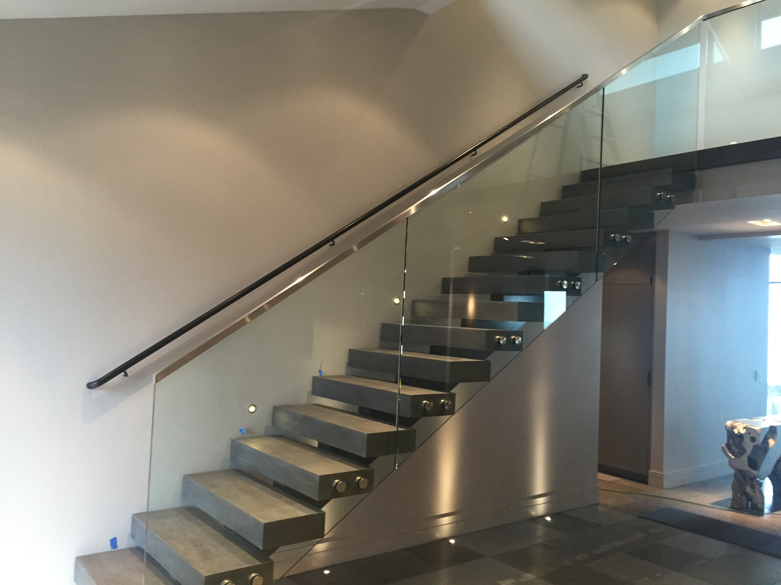 Glass Stair Rail With Standoffs • Ot Glass | Steel Railing With Glass For Stairs