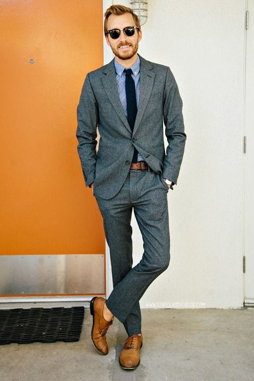Dark Grey Suit Tan Shoes