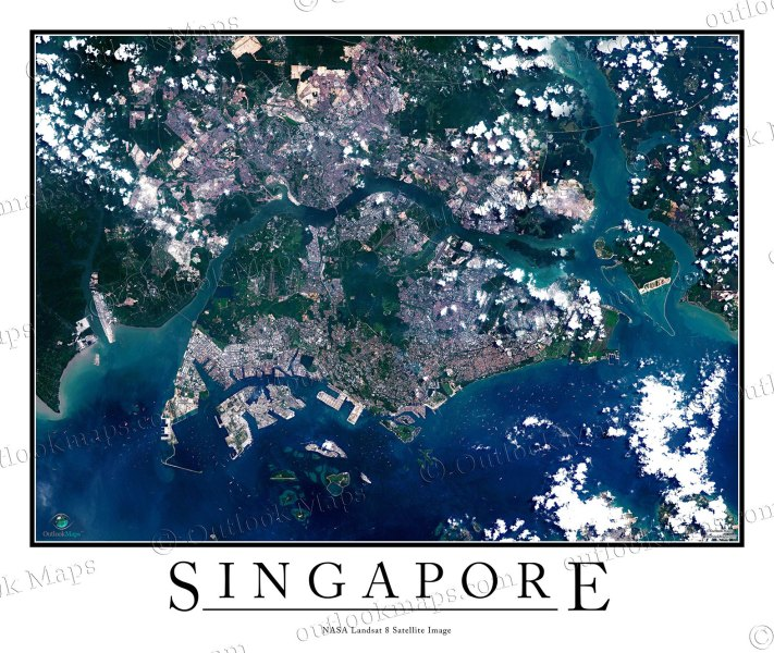 Singapore Satellite Map Print   Aerial Image Poster Aerial Image Satellite Map of Singapore Poster