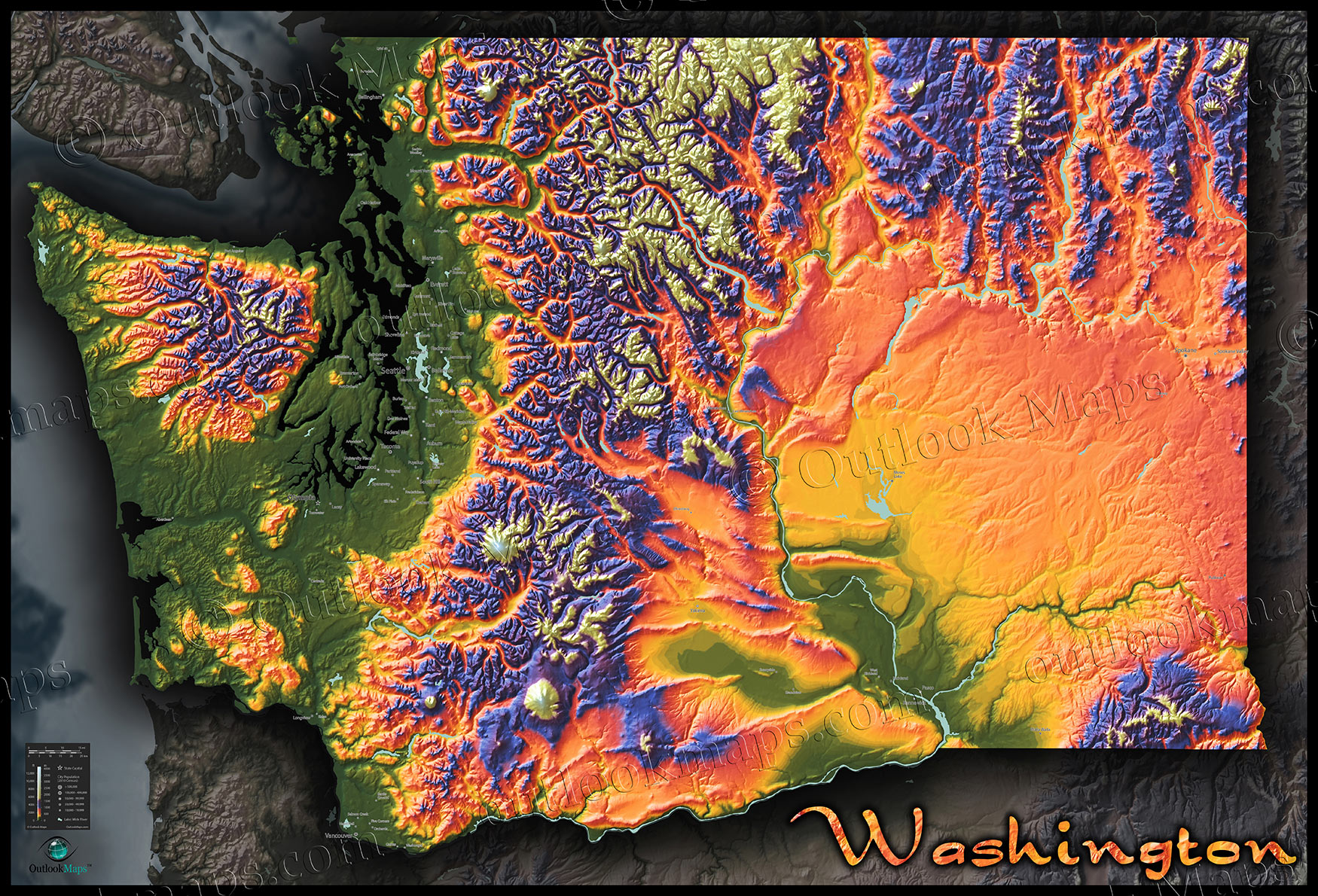 Topo Map of Washington State   Colorful Mountains   Terrain Topographic Physical Wall Map of Washington