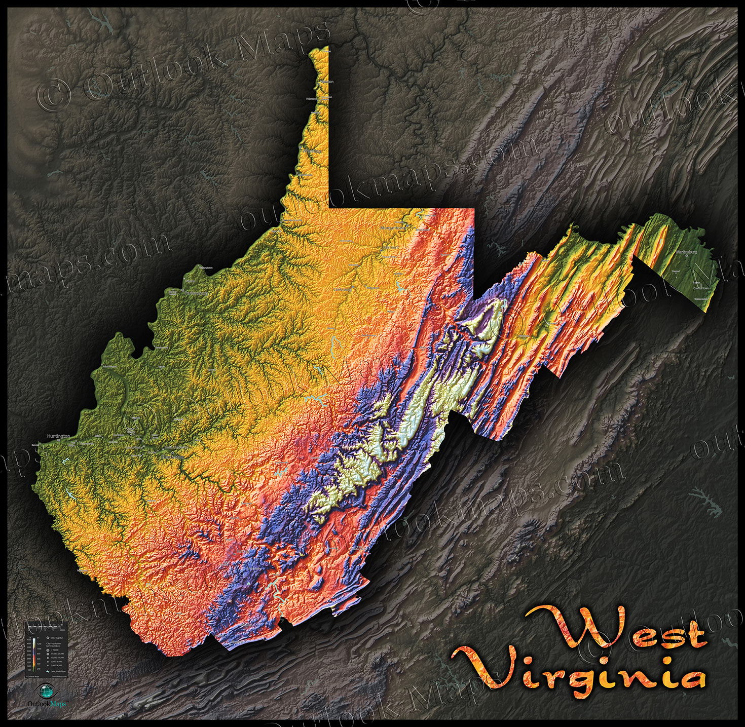 West Virginia Topography Map