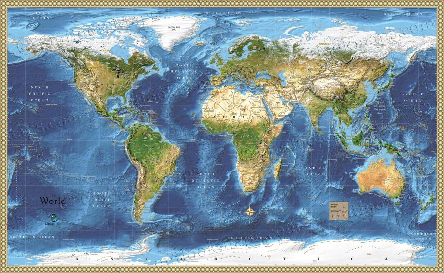 World Satellite Wall Map   Detailed Map with Labels WORLD990   World Satellite Map