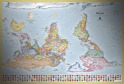 World Upside Down Map with Flags   South Up Map Upside Down Map of the World with Flags
