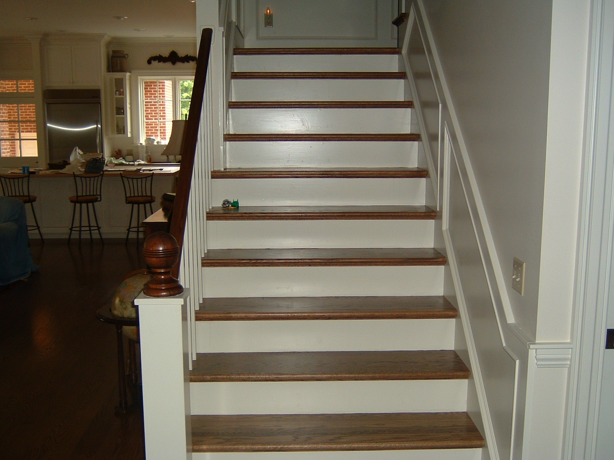 1 Red Oak With Stain Ozark Hardwood Flooring   Red Oak Stair Treads And Risers   Wooden Stairs   Wood Stair   Hardwood Floors   Railing   Stair Parts