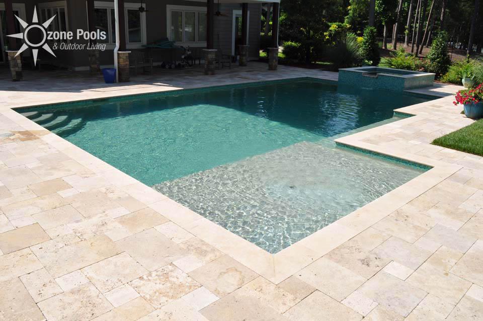 Rectangular Pool Amp Spa With Glass Tile