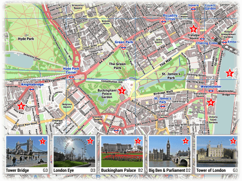 London PDF Maps with Attractions   Tube Stations London Attractions Map PDF