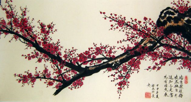 Wine colored Plum Blossom   Chinese flower painting Chinese flower paintings   Wine colored Plum Blossom