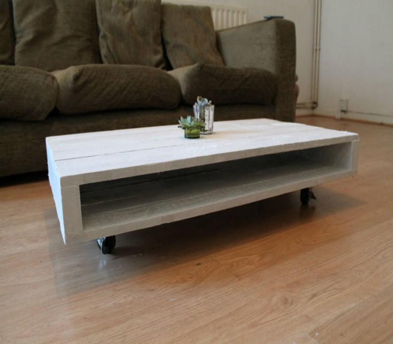 Wooden Pallet Coffee Tables On Wheels Pallet Ideas