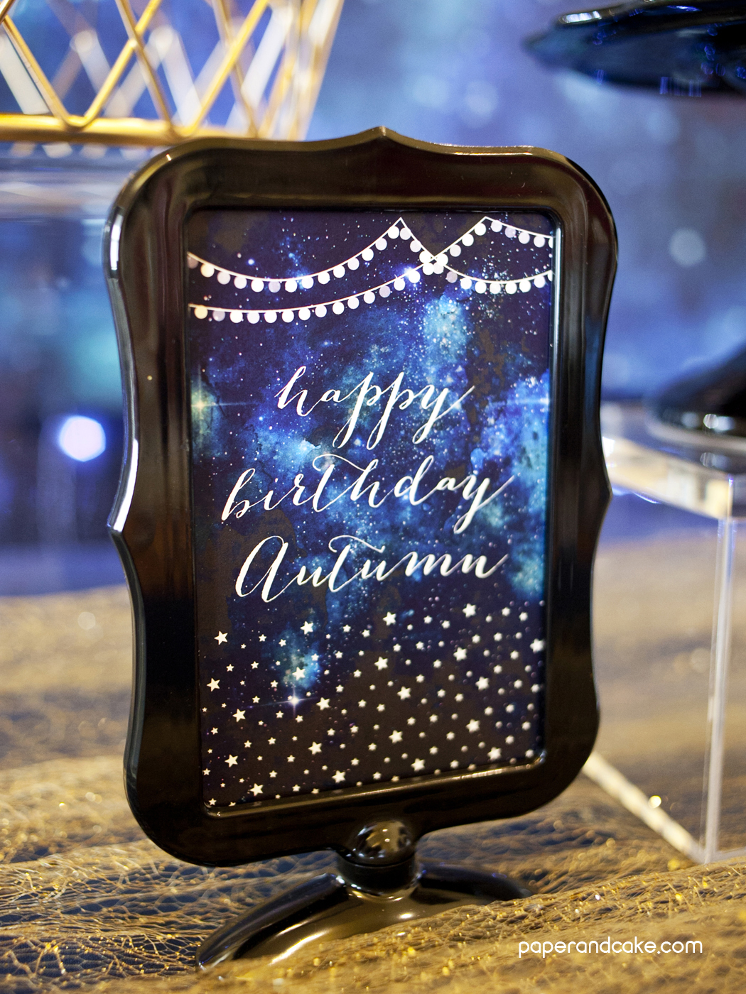 Under The Stars Galaxy Printable Party Paper And Cake