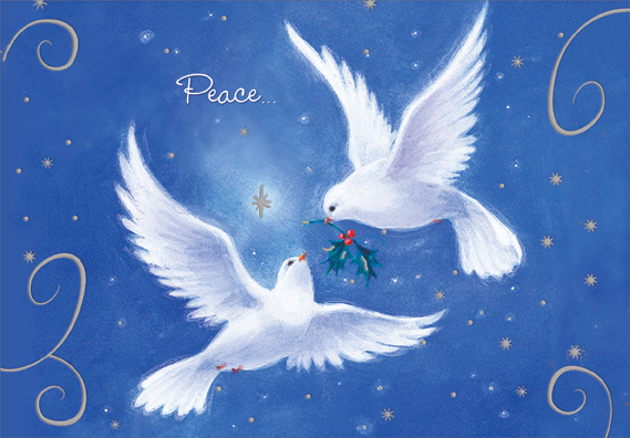 Two Doves On Blue Peace Christmas Card By Designer Greetings