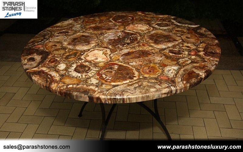 Round Grey Wood Coffee Table