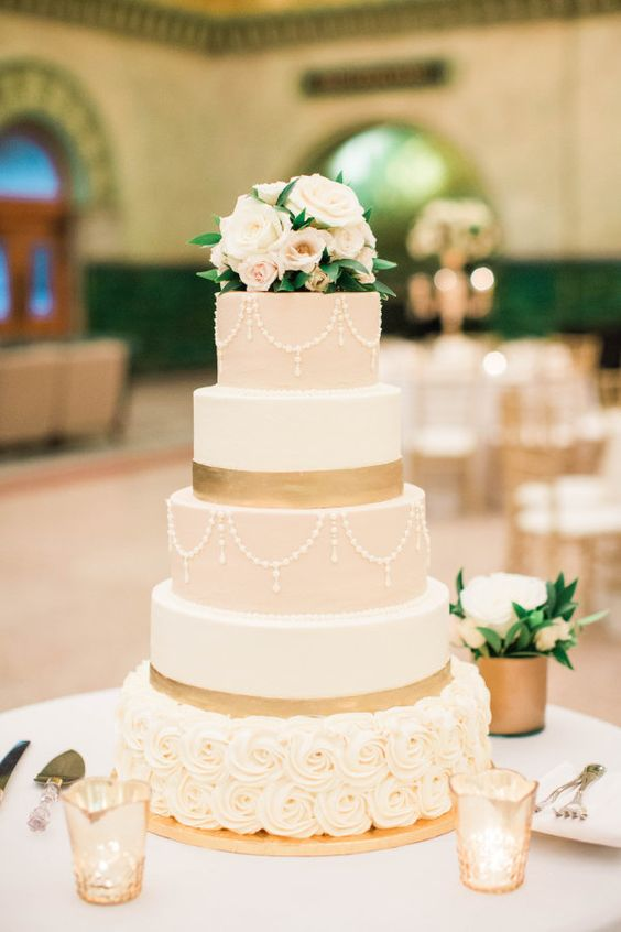 15 wedding cakes that are almost too pretty to eat A sophisticated color palette with luxury details make up this stunning wedding  cake