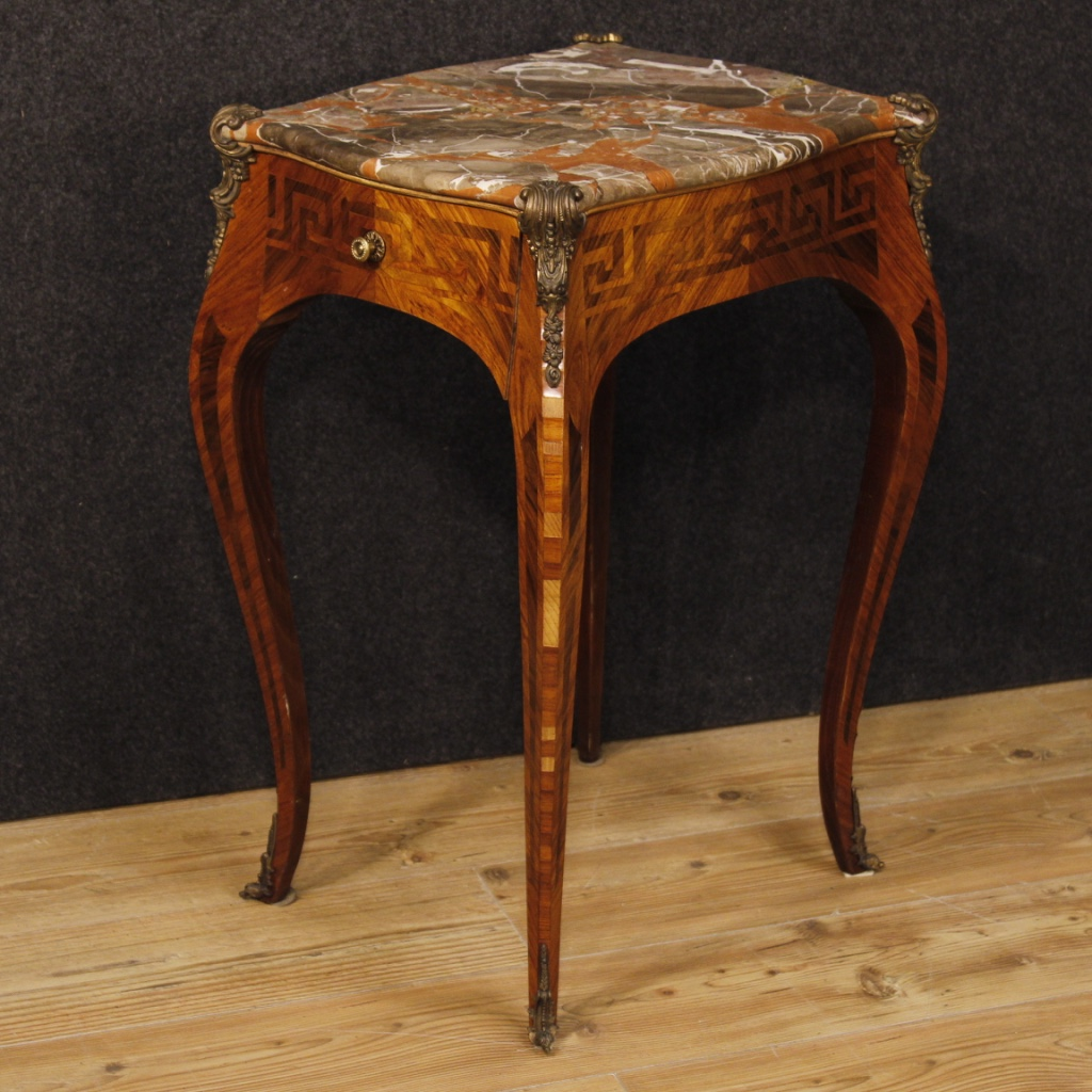 French Inlaid Side Table With Marble Top In Louis Xv Style