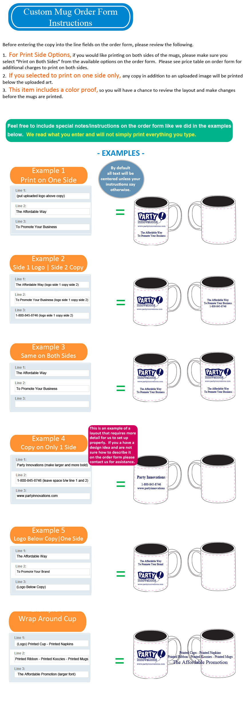 Order Form Instructions For Printed Ceramic Mugs