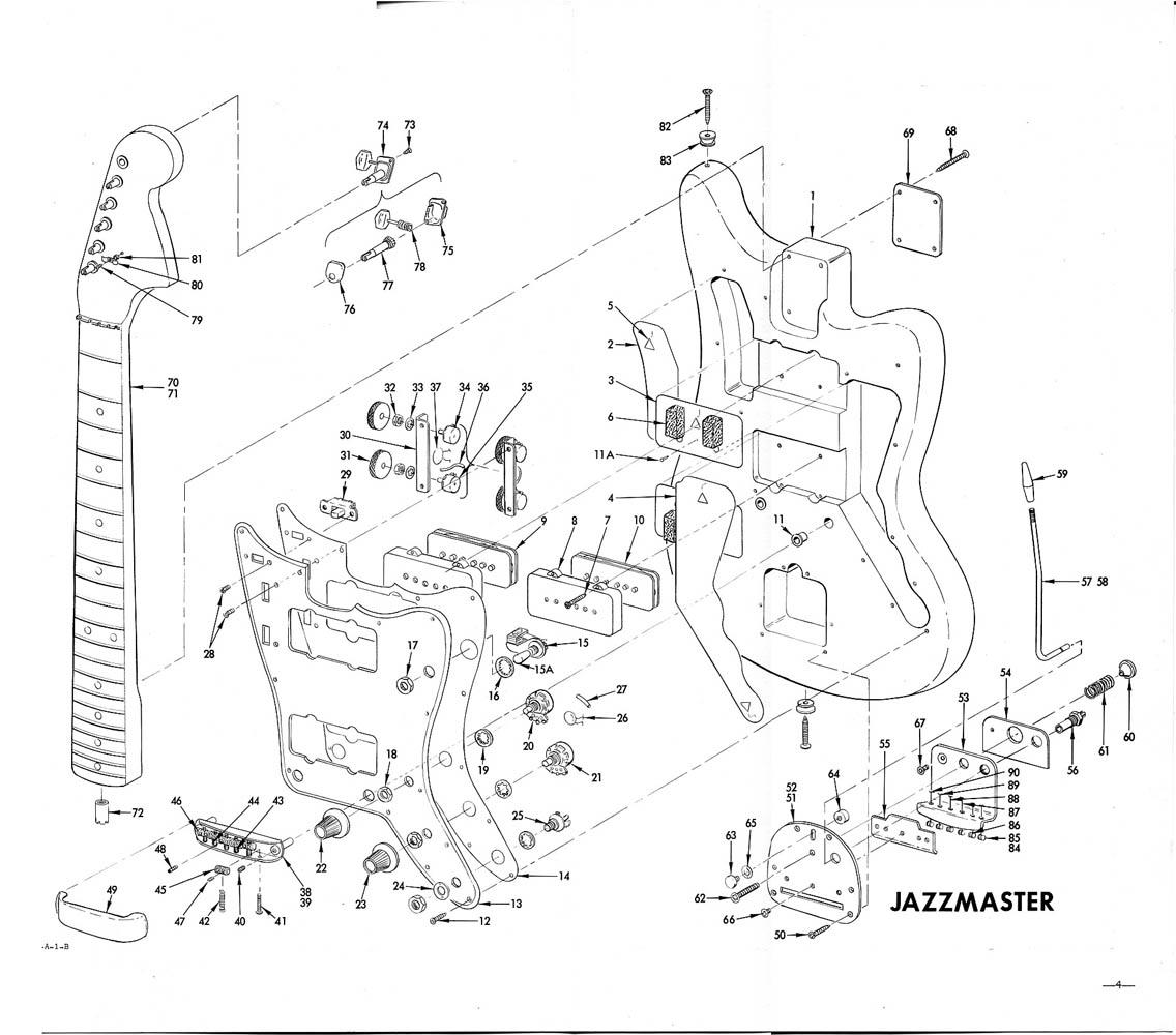 Fender jazzmaster diagrama de construcción