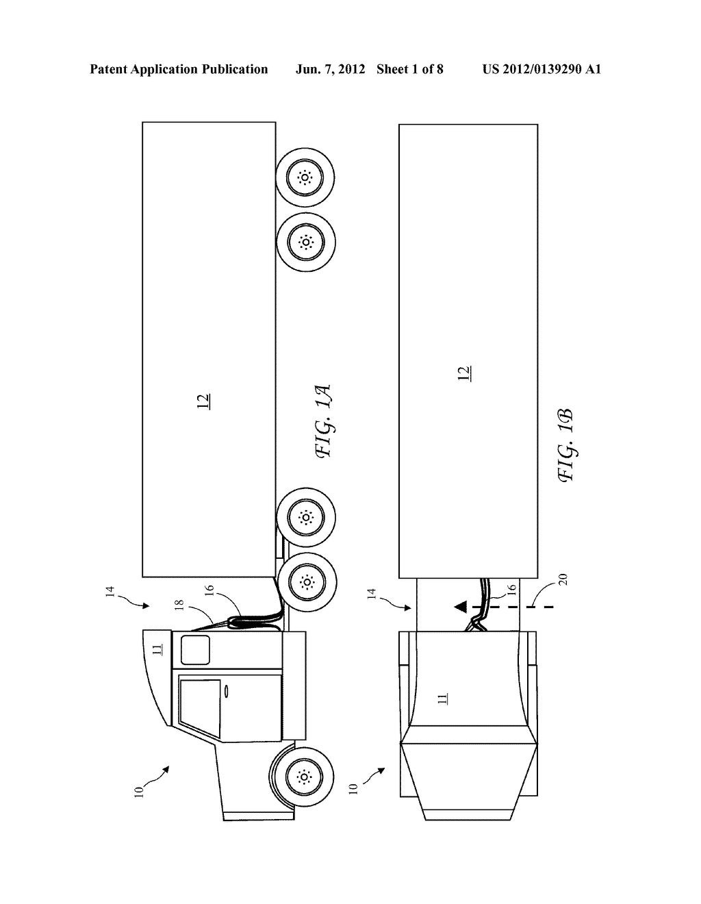 Tractor trailer cross wind blocker diagram schematic and image 02 rh patentsencyclopedia semi tractor diagram semi tractor trailer diagram