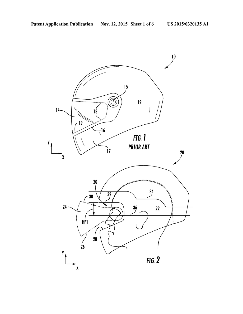 Expanded field of view for full face motorcycle helmet diagram
