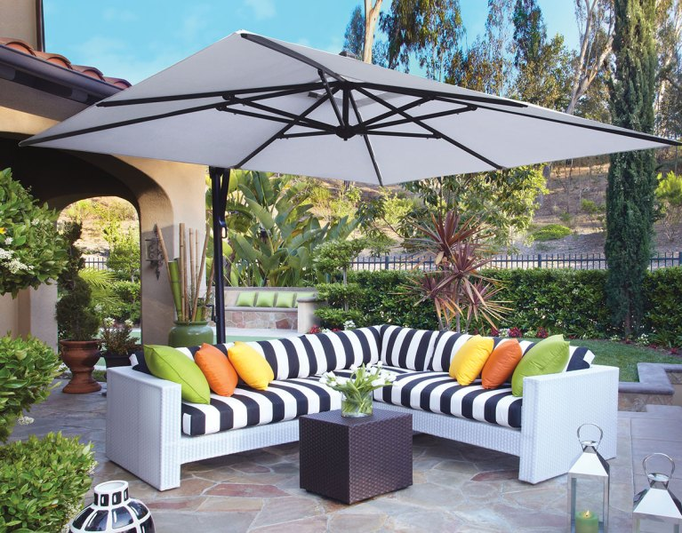 The Patio Umbrella Buyers Guide with All the Answers 10  Square Cantilever Umbrella  AKZSQ10 SWV  Treasure Garden