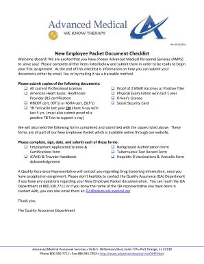 New Employee Packet Document Checklist Fill Online ...
